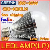 2013 FEDEX free shipping10pcs/lot LED Lamp 3W 5W 6W 7W 9W 10W 12W 15W 25w 30w 40W E27 led Bulb Lamp Cool / Warm white led bulb