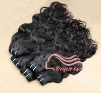 Malaysian virgin hair mix length natural wave hair extension 3pc/lot natural color 1B fast and free shipping