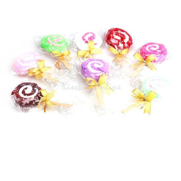 Washcloth Towel Gift Lollipop Towel Bridal Baby Shower Wedding Party Favor K5BO(China (Mainland))