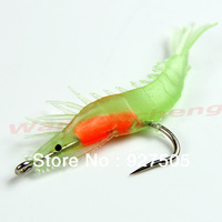 B39Free Shipping 5pcs/lot 60mm 3g Noctilucent Soft Silicone Prawn Shrimp Fishing Lure Hook Bait