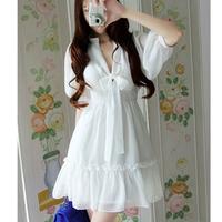 Beautiful fashion Slim thin waist big yards Summer short-sleeved chiffon dress M-XXXL
