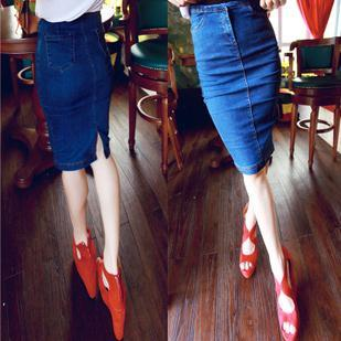 Free shipping denim skirts women fashion elegant long jean pencil skirts blue for women spring vintage skirt slim hips bust(China (Mainland))
