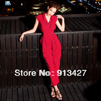 Wholesale price 2014 ladies fashion elegant cross V-neck long loose jumpsuit women's sexy rompers free shipping black,red color
