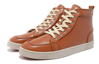 Lichee pattern red sole high-top lace-up sheep skin men's shoes