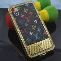 Premium Chromed Hard Case With Leather Surface For iPhone 4/iPhone 4S for iPhone 4G Plated Leather Case 50pcs/Lot Free Shipping