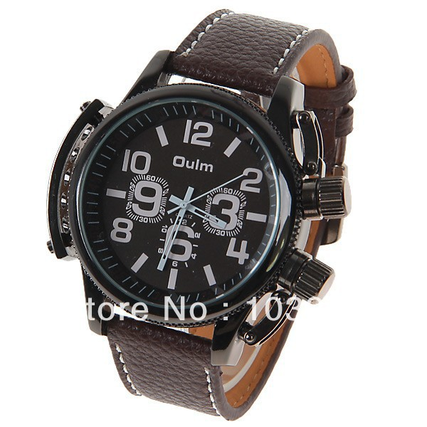 Oulm Men's Watch with Numbers Hours Marks Round Dial Leather Band - Brown(China (Mainland))