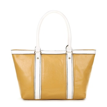 2013 New  VANCL Lady Shoulder Bags Hollie Contrast PU Tote Fashion Glossy Leather-look Candy Colors Bags FREE SHIPPING