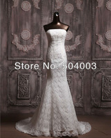 Free Shipping Perferred Stunnng Lace Applique Strapless Bridal Gown Wedding Dress