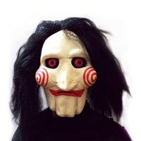 Saw Movie Jigsaw Puppet Mask Halloween Full Head Latex Creepy Scary Mask
