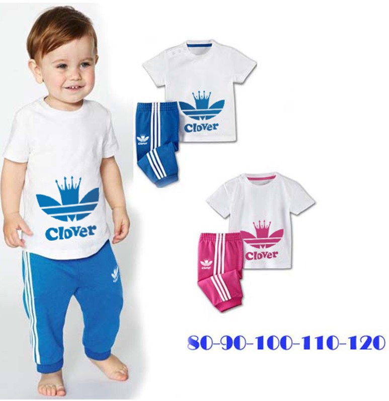 New! Wholesale 5sets/lot boys girls leisure sport suits for Summer,Children short sleeve T-shirt+pants 2 piece clothing set(China (Mainland))