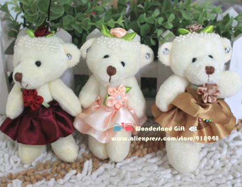 Free shipping 1 lot/20pcs bear plush toys teddy bear mobile phone's accessories cartoon bouquet doll activity promotion gifts(China (Mainland))