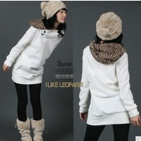2013 Brand New Womens Autumn Active Sweatshirts Hoodies Leopard Top Outerwear Coats White/Black Free Size Sweater, Free Shipping