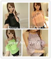2013 Women Sexy See Through Chain Off Shoulder Blouse Chiffon Shirt Party Club Wear 16016