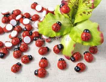 Free Shipping Wholesale 300pcs 1*1.3CM Cartoon Beetle Sponge Stickers Fridge Magnet Ladybug Wooden Handicrafts 017032009