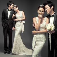 Sexy deep V-neck sweet princess fish tail wedding dress formal dress winter maternity 963 2012
