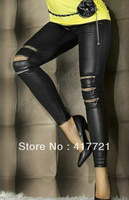 Free shipping ML7571 Fashion Cheaper Price Black Zip-front Faux Leather Long Women Legging