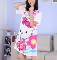 2013 Hot sale Free Shipping 10pc/Lot Cartoon Hello Kitty Cotton Pajamas 16Pattern Free Size super cute Pajamas Dress
