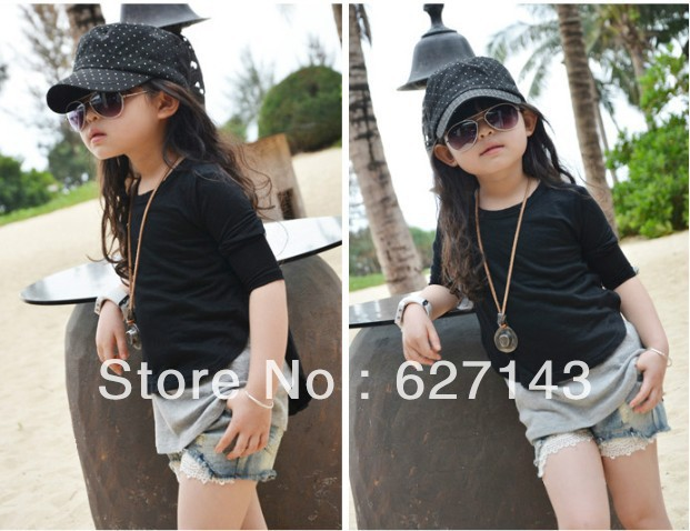 Children's clothing wholesale 2013 summer models girls washed denim shorts lace crochet(China (Mainland))