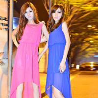 2013 women's low-high dovetail chiffon skirt bohemia irregular one-piece dress