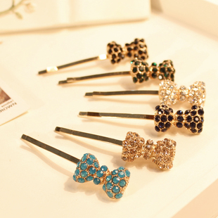 PARIS STYLE C110 crystal rhinestone bow clip side-knotted clip bangs clip hairpin hair accessory hair accessory(China (Mainland))