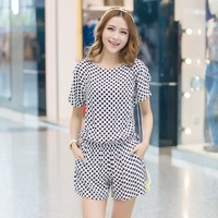 2013 sweet dot loose batwing sleeve o-neck casual jumpsuit shorts female