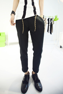 Store up leather hemp drawstring ankle length trousers casual pants trousers 2(China (Mainland))