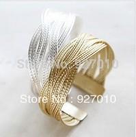 Min order is $10(mix order)  Alloy knitted twisted metal rattan Women wide bracelet woven women cuff bracelets bangles