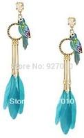 Min order is $10(mix order) Fashion jungle series parrot feather earrings  tassels chain earrings drop dangle earring