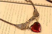 50pcs/lot Wholesale Korea Cute Graceful Loving wing heart  necklace Jewelry 2013 women Promotion Gifts  Free shipping