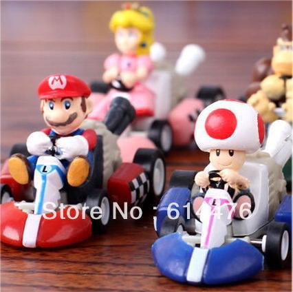 Free shipping 100sets/lot Super Mario Bros Kart PULL BACK Car Figures 6pcs per set(China (Mainland))