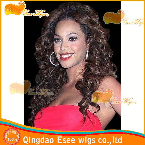 hot!100% hair lace wigs lndian remy human hair lace front wigs pretty curly wig 1b highlight 4# color150%denstiy(China (Mainland))