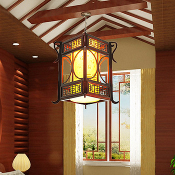 Chinese style pendant light wooden antique sheepskin lamp dining room pendant light study light lamps 3079