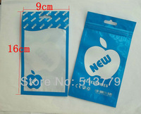New 16x9cm Zipper plastic retail package bag poly opp bag for mobile phone accessories data cables packaging bags
