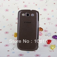 Free Shipping 10pcs/lot Shimmering Powder Transparent Crystal Hard Case for Samsung Galaxy SIII / i9300(Dark Grey)