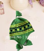 100% acrylic jacquard pattern earflap hat winter cute child hat with tassel