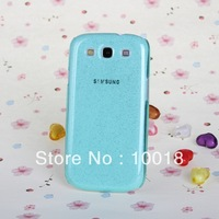 Free Shipping 10pcs/lot Shimmering Powder Transparent Crystal Hard Case for Samsung Galaxy SIII / i9300(Light Green)