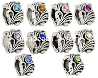 Free Shipping! Mixed Antique Silver Rhinestone Flower Beads Fit European Charm 12x8mm,10pcs (B08161)