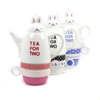 Rabbit red hat girl set cup glass pot rabbit teapot tea ice flower porcelain tea set