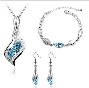 CS1 Fashion Popular rhinestone horse eye Crystal Earrings Necklace Bracelet three set jewelry sets wholesale B17.8(China (Mainland))
