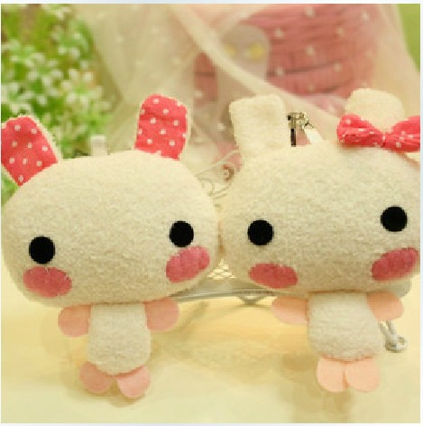 Couples Plush cartoon 12CM Rabbit Mobile Phone Charm Bag Rabbit keychain toy promotion gift 30pcs/Lot Free Shipping(China (Mainland))
