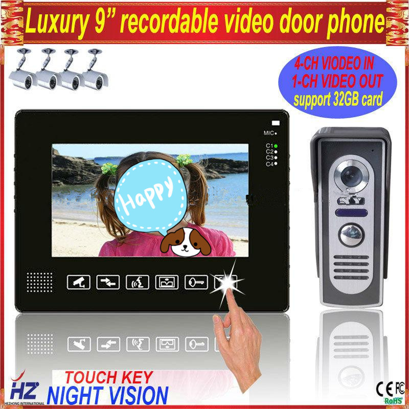 "Touch key 9"" wired color video door phone pinhole camera with rainproof(China (Mainland))"