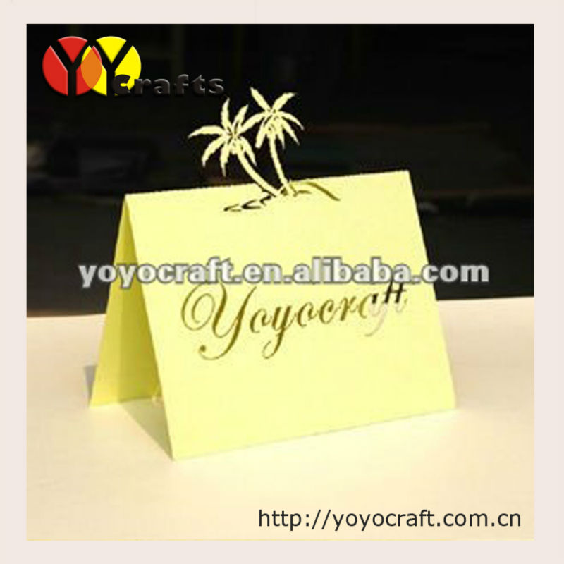 Free laser cutting your names and date kinds of Coconut palm table name card table card place card seat card(China (Mainland))