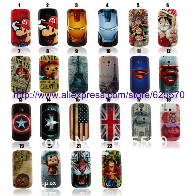 stylish design Super man symbol Iron Man Embossed Battery hard Case For Samsung Galaxy S3 mini I8190,10pcs/lot by china post(China (Mainland))