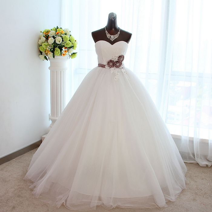 2013 quality rhinestone flower tent bridal princess wedding dress formal dress(China (Mainland))