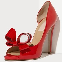 Fashion genuine valentin pure leather bow open toe bow-knotted  high-heeled sandals female ol women's shoes wedding shoes