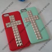 10pcs/lot Fashion Handmade Ryramid Rivet punk Cross Studs  phone Case cover for  Iphone5/5S, Free shipping