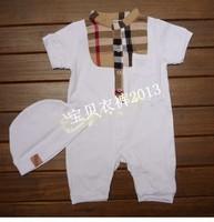2013 New Designer Brand  Baby romper Set (romper +hat)  Kids  Bodysuit  Baby Girls / Boys Infant  Clothes Classic Plaid Romers