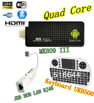 New 2GB Bluetooth RK3188 Keyboard UKB500 + USB HUB LAN RJ45 + Quad Core MK809 III Android 4.2 MINI PC TV Stick