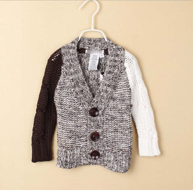 Autumn children boy v-neck knitting a sweater Coarse thread(China (Mainland))