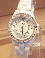 Fashion star ceramic white watchband rhinestone women's watch